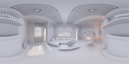 living room design: 3d illustration of the interior design of the living room. The style of the apartment is modern without textures. Render is executed, 360 degree spherical seamless panorama for virtual reality. Stock Photo