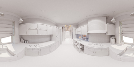 Beau 3d Illustration Of The Kitchen Interior Design In Scandinavian Classical  Style. Interior Without Textures And
