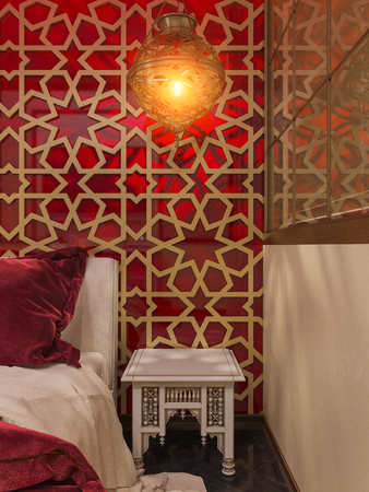 jewry: 3d illustration bedroom interior design of a hotel room in a traditional Islamic style. Beautiful deluxe room Ramdan Kareem background interior view decorated with Islamic motifs.