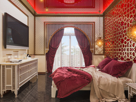 3d illustration bedroom interior design of a hotel room in a traditional Islamic style. Beautiful deluxe room Ramdan Kareem background interior view decorated with Islamic motifs.