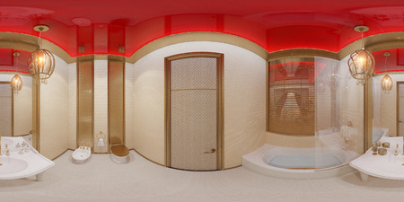 3d illustration spherical 360 degrees, seamless panorama of bathroom hotel room in a traditional Islamic style. Beautiful deluxe room background interior view decorated with arabian motifs. Standard-Bild