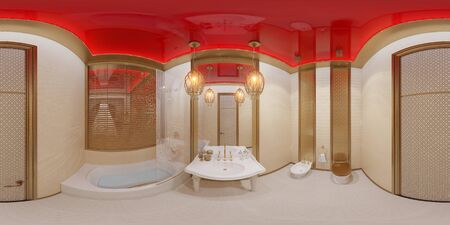 ar: 3d illustration spherical 360 degrees, seamless panorama of bathroom hotel room in a traditional Islamic style. Beautiful deluxe room background interior view decorated with arabian motifs. Stock Photo