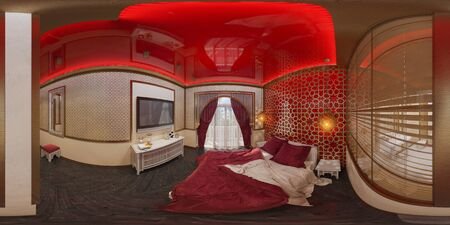 equirectangular: 3d illustration spherical 360 degrees, seamless panorama of bedroom hotel room in a traditional Islamic style. Beautiful deluxe room background interior view decorated with arabian motifs.