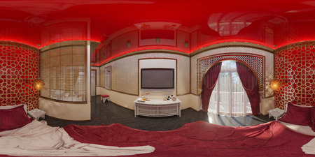 condo: 3d illustration spherical 360 degrees, seamless panorama of bedroom hotel room in a traditional Islamic style. Beautiful deluxe room background interior view decorated with arabian motifs.