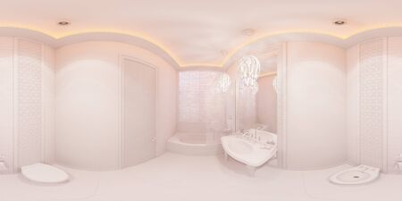 equirectangular: 3d illustration spherical 360 degrees, seamless panorama of bathroom hotel room in a traditional Islamic style. Beautiful deluxe room background interior view decorated with arabian motifs. Stock Photo