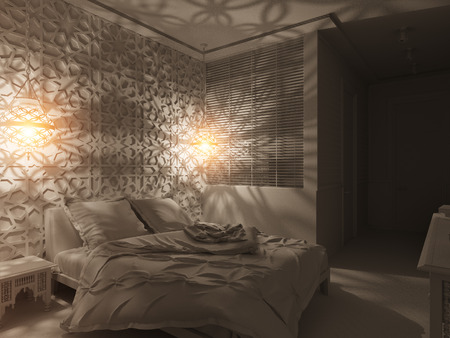 background textures: 3d illustration bedroom interior design of a hotel room in a traditional Islamic style. Deluxe room background interior view decorated with arabian motifs. Render in white without textures