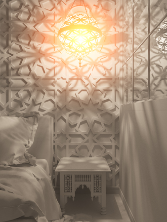 furniture design: 3d illustration bedroom interior design of a hotel room in a traditional Islamic style. Deluxe room background interior view decorated with arabian motifs. Night render scene in white without textures Stock Photo