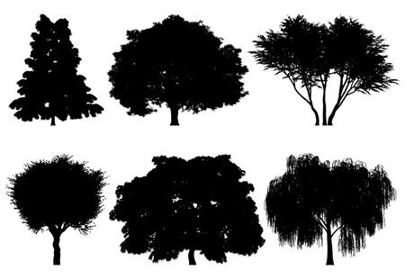背景と建築作品の木シルエットのイラスト  イラスト・ベクター素材