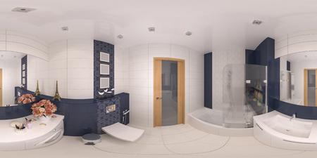 360 panorama of bathroom design. Seamless 3d illustration of interior design of bathroom in private apartment Stockfoto