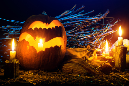 Photo for the holiday Halloween. Evil bat pumpkin lamp background Stock Photo