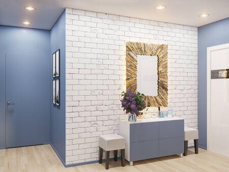 Illustration 3D de la décoration intérieure d'un appartement de style scandinave. Visualisation architecturale du couloir intérieur en couleurs chaudes. Banque d'images - 88172109