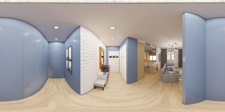 3d illustratie sferisch 360 graden, naadloos panorama van het binnenlandse ontwerp van een flat in Skandinavische stijl. Architecturale visualisatie van het binnenpanorama in warme kleuren. Stockfoto