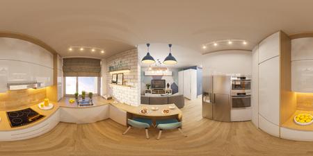 3d 그림 구형 360도, 거실 인테리어 디자인의 원활한 파노라마. 스칸디나비아 미니멀리스트 스타일의 현대적인 스튜디오 아파트 스톡 콘텐츠