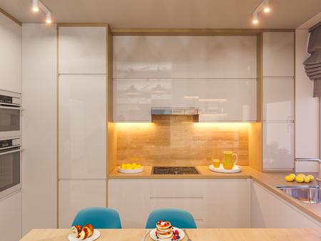 D illustration kitchen interior design in white color modern