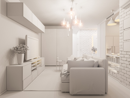 3d illustration living room and kitchen interior design. Modern studio apartment in the Scandinavian minimalist style ambient occlusion Stock Photo