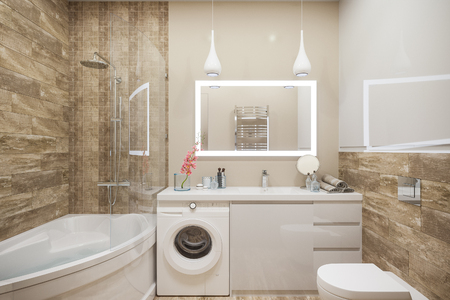 3d illustration of the interior of the bathroom in a modern style with a corner bath. Render interior design is executed in beige and white color