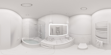 3d illustration spherical 360 degrees, seamless panorama of bathroom interior design. Modern Scandinavian style of interior. Bathroom without textures and materials Reklamní fotografie