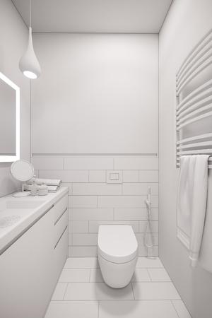 3d Illustration Of An Interior Design A White Minimalist Bathroom Modern Scandinavian Style
