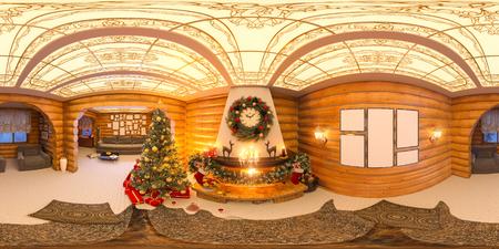 Weihnachtsinnenraum mit einem Kamin. Illustration 3d einer Innenarchitektur in einer klassischen Art mit Weihnachtsbäumen, Geschenken und Dekor. Nahtloses 360-Grad-Panorama für virtuelle Realität und virtuelle 3D-Touren
