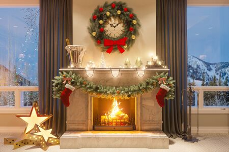 3d illustration of a Christmas interior with a fireplace and gifts. An image for a postcard or a poster. Interior design in classical architectural style. Merry Christmas and New Year 2018 Stock Photo