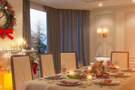 3d illustration of a Christmas family dinner table. An image for a postcard or a poster. Interior design in a classic architectural style with fireplace and corner window. Stock Photo