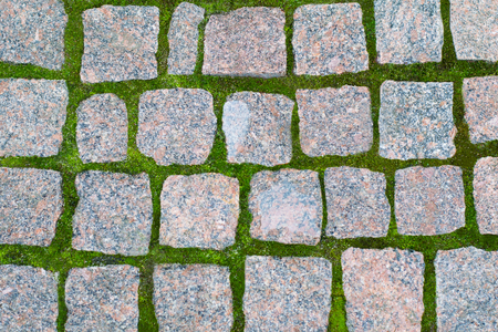 Seamless texture of a paving stone track on a green grass. Can be used as a background for your design or as a texture in computer graphics and game development.