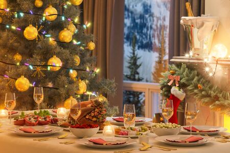 3d illustration of a Christmas family dinner table. An image for a postcard or a poster. Interior design in a classic architectural style with a Christmas tree and gifts.