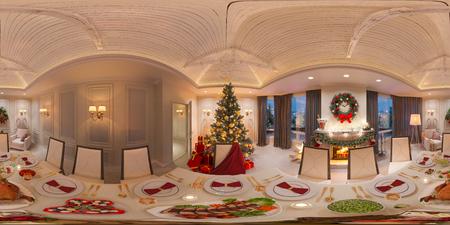 Panorama 360 sem costura para realidade virtual e passeios virtuais em 3D. Interior de Natal com uma lareira e uma mesa festiva. Ilustração 3d de um design de interiores em um estilo clássico.