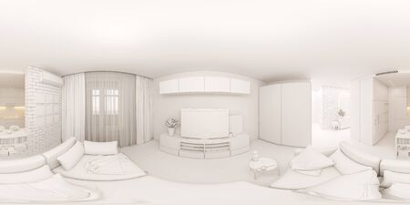 3d illustration spherical 360 degrees, seamless panorama interior of the living room, hall and kitchen. The interior design of the euro is a two room apartment in a Scandinavian style.
