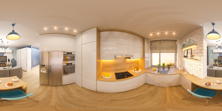 3d illustration spherical 360 degrees, seamless panorama of living room and kitchen interior design. Modern studio apartment in the Scandinavian minimalist style