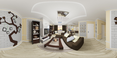 3d illustration spherical 360 degrees, seamless panorama of living room and kitchen interior design. Modern studio apartment in a modern classic style 版權商用圖片