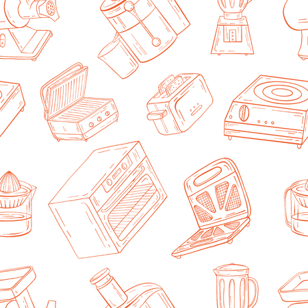 Household appliances for the kitchen, cafe and restaurant. Vector illustration of seamless pattern in hand-drawn graphics. Vettoriali