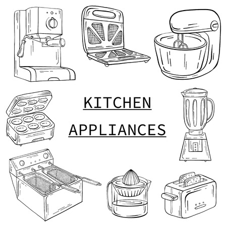 Household appliances for the kitchen, cafe and restaurant vector illustration in hand drawn graphics. Coffee maker toaster juicer mixer deep fryer barbecue grill.
