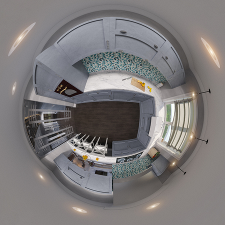 3d illustration spherical 360 degrees, seamless panorama of kitchen interior design. Modern studio apartment in the Scandinavian minimalist style Stok Fotoğraf