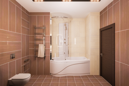 Interior design of a modern bathroom with a large mirror. 3d illustration in warm colors. 3d render in high resolution for printing. Фото со стока - 101415398