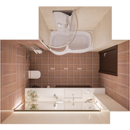 Interior design of a modern bathroom with a large mirror. 3d illustration in warm colors in top view. 3d render in high resolution for printing. Banque d'images - 101415410