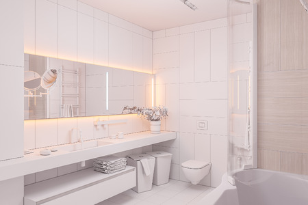 3d illustration in white colors without textures. Interior design of a modern bathroom with a large mirror. 3d render in high resolution for printing Banque d'images - 106415508