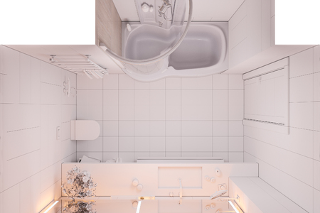 Interior design of a modern bathroom with a large mirror. 3d illustration without textures and colors in top view. 3d render in high resolution for printing. Banque d'images - 106415509