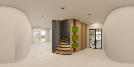 3d illustration 360 degree seamless panorama Interior design of a foyer in a private country house. Staircase in modern Scandinavian style. Ecological style of the interior. Stabilized moss