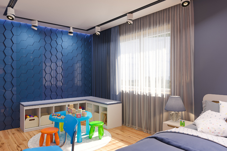 3d render of the childrens bedroom in deep blue color. Visualization of the concept of interior design kids room for boy in a space theme.
