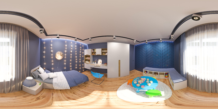 3d render spherical 360 degrees, seamless panorama of the childrens bedroom in deep blue color. Visualization of the concept of interior design kids room for boy in a space theme.