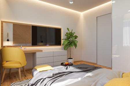 3d illustration, bedroom interior design concept. Visualization of the interior in the Scandinavian architectural style. Render in warm, natural colors Stock Illustration - 110898292