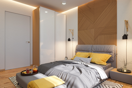 3d illustration, bedroom interior design concept. Visualization of the interior in the Scandinavian architectural style. Render in warm, natural colors Stock Photo