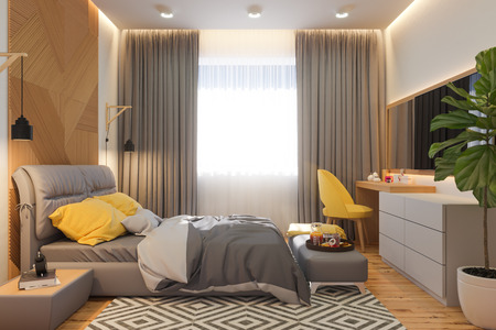 3d illustration of bedroom interior design concept in scandinavian style. Render is made in bright colors. High resolution images for web and print.