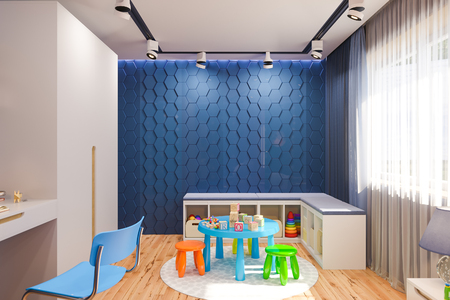 3d illustration of the kids bedroom in deep blue color. Visualization of the concept of interior design child room for boy in a space theme.