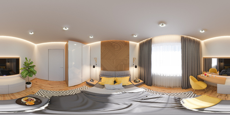 3d illustration of a seamless 360 panorama. Bedroom interior design concept in scandinavian style. Render is made in bright colors. high resolution image for virtual reality.