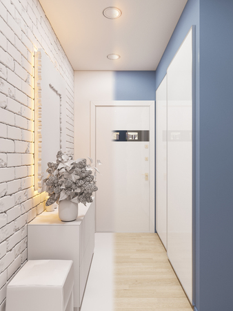 3d illustration of the interior design of an apartment in Scandinavian style. Architectural visualization of the interior hallway in white colors ambient occlusion Reklamní fotografie