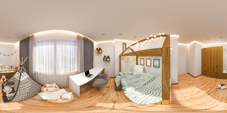 Virtual reality, 360 degrees seamless panorama. Childrens playroom and bedroom in the Scandinavian style. The interior design in the traditional light colors, with accents of natural wood. Stockfoto