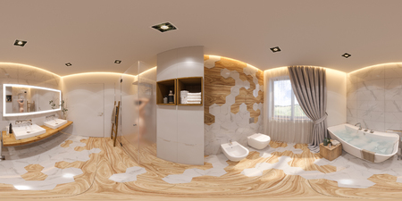 3d illustration spherical 360 degrees, seamless panorama bathroom interior design. 3d render is designed in a Scandinavian minimalist style. Image for virtual reality Stok Fotoğraf