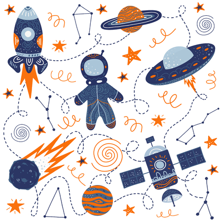 Hand drawing for a poster on the theme of space. The Milky Way, galaxy, rocket, ufo, astronaut, space satellite and stars. Vector illustration for t-shirt, greeting card or hoodies.